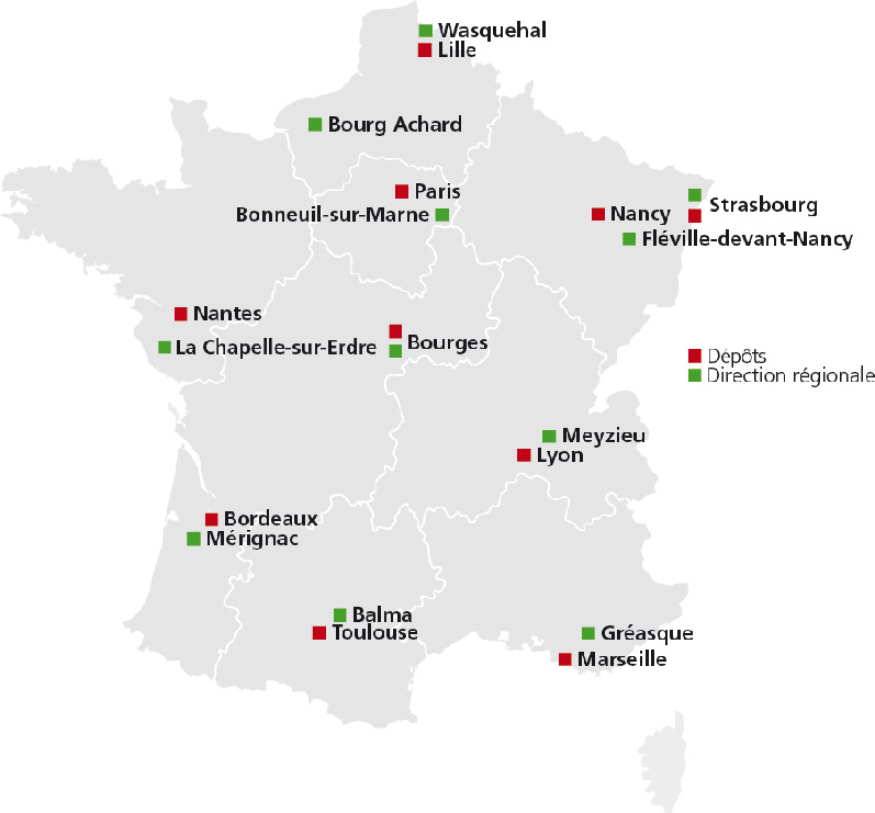 Carte agences et dépôts, saint gobain pam france 2015