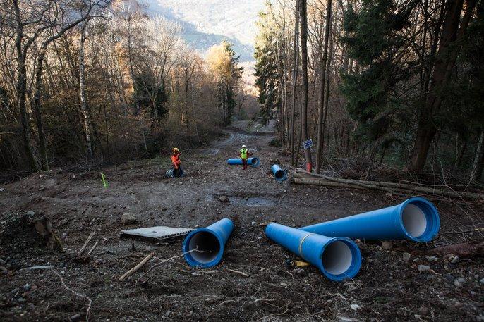 Pose en pente - canalisations en fonte ductile - Saint-Gobain PAM
