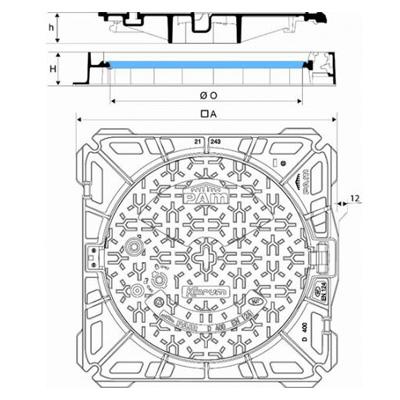 Regard KORUM Classe D400 cadre carré non ventilé fonte de voirie