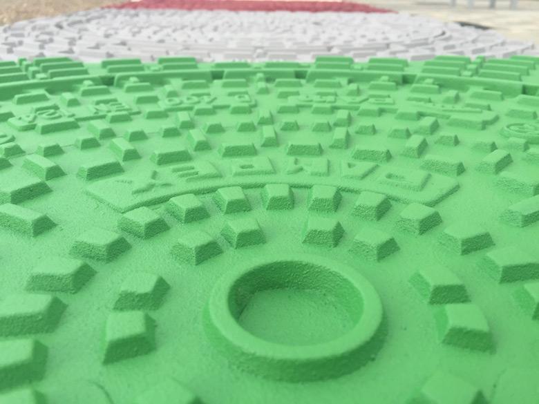 revêtement coloré regards voirie, fonte voirie vert, plaque d'égout vert