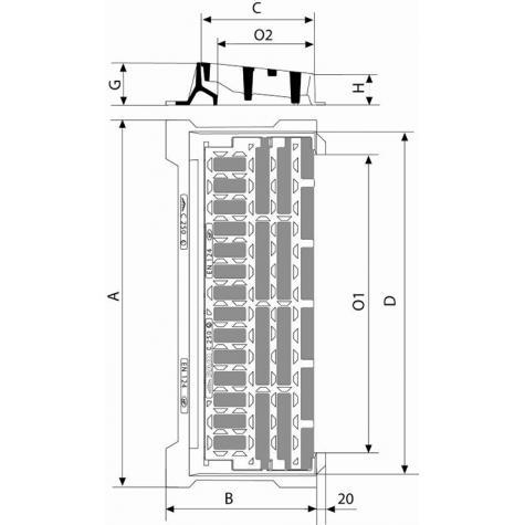 Grille pour bordure SELECTA Classe C250 - Grille plate – Cadre avec   pattes support avaloir