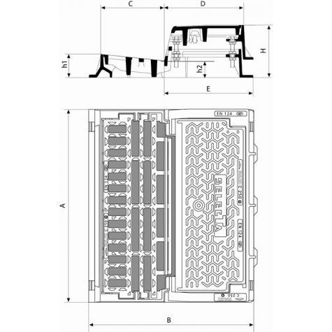 Bouche d'égout SELECTA MAXI Profil T - Grille avec barreau sélecteur Classe C250