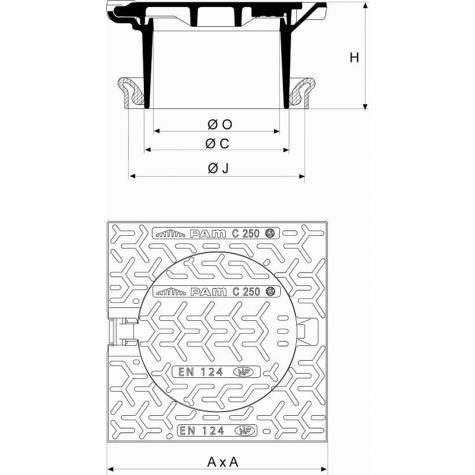 Regard Hydraulique de branchement articulé rehaussable Classe C250 -   Cadre Carré pour rehausse Fonte DN250 - Joint TPV