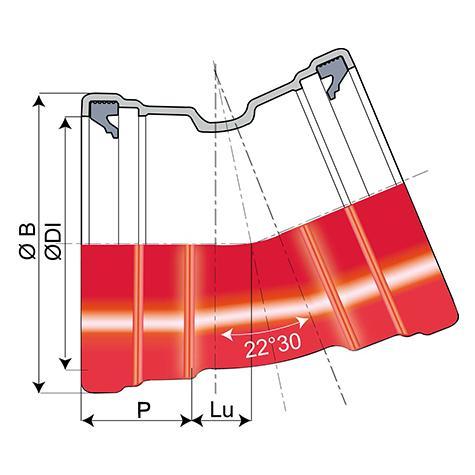 Coude TAG 32 à 2 emboîtements DN125-200