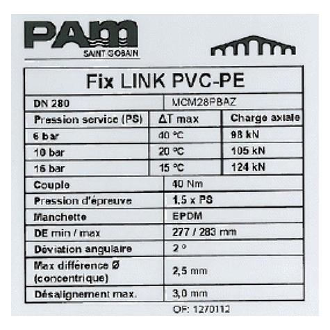 Manchon FIX-LINK verrouillé pour tubes PVC ou PE