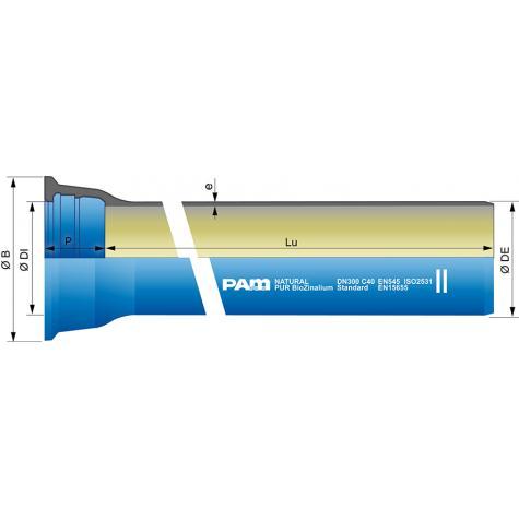 Tuyau NATURAL   BioZinalium® PUR avec   collerette joint STD DN350-600