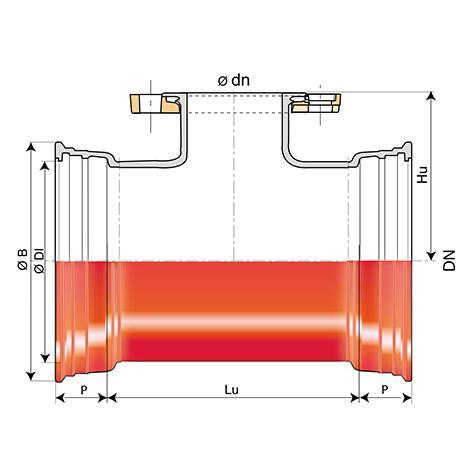 Té INTEGRAL à 2 emboîtements et tubulure bride à joint Standard   DN80-1000
