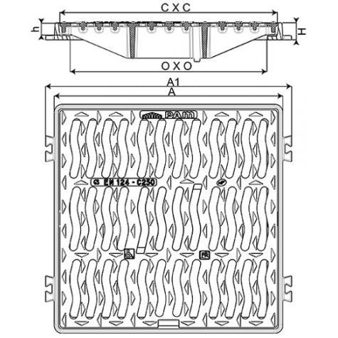 Grille plate à cadre PMR Classe C250