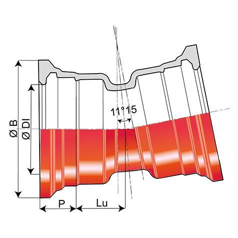 Coude 11°15 INTEGRAL à joint Standard DN80-1000