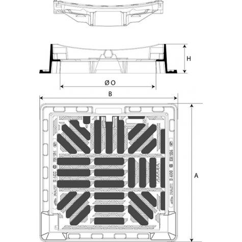 Grille Concave DEDRA 400 Classe D400 Cadre avec semelles sur 4 cotés