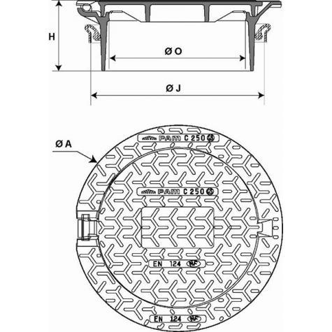 Regard Hydraulique de branchement articulé rehaussable Classe C250 -   Cadre Rond pour rehausse PVC DN400 - Joint TPV
