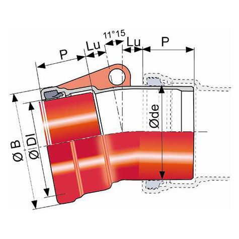 Coude TAG 32 à 1 emboîtement et 1 bout uni DN125-300