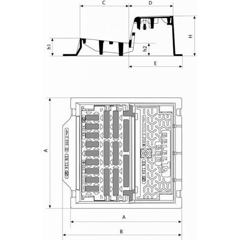 Bouche d'égout SELECTA 500 Profil T Grille avec barreau sélecteur   Classe C250