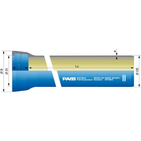 Tuyau NATURAL   BioZinalium® PUR sans   collerette joint STD DN100-300