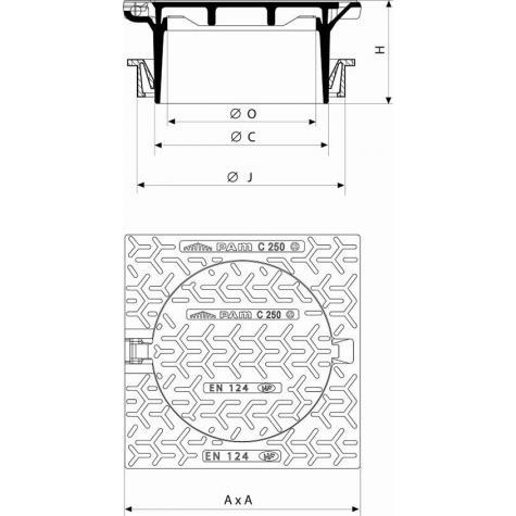 Regard Hydraulique de branchement articulé rehaussable Classe C250 -   Cadre Carré pour rehausse Fonte DN300 - Joint TPV