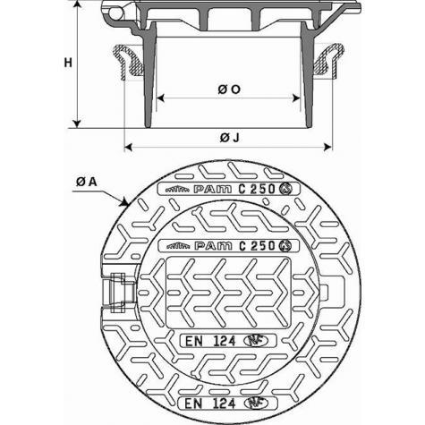 Regard Hydraulique de branchement articulé rehaussable Classe C250 -   Cadre Rond pour rehausse Fonte DN250 - Joint élastomère NBR