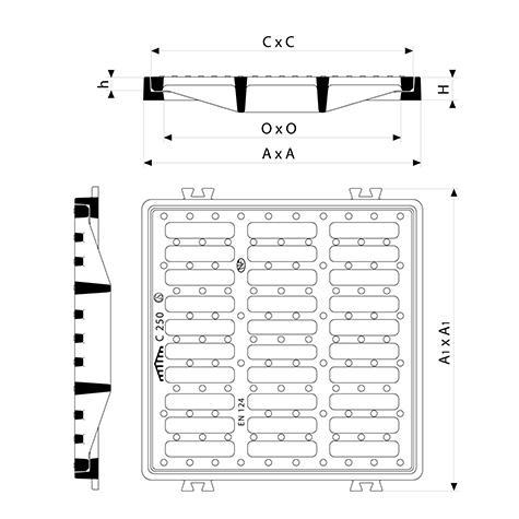 Grille plate à cadre carré Classe C250