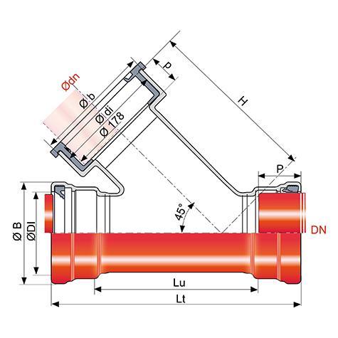 Branchement TAG 32 à 3 emboîtements dont 1 à 45° pour grès
