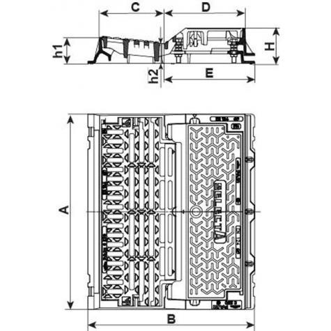 Bouche d'égout SELECTA MAXI PMR Profil A Classe C250 - Grille   plate